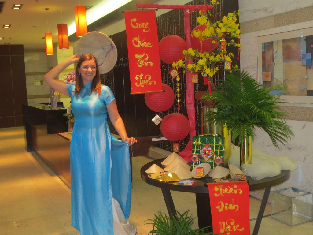 Claire Cameron wears Ao Dai for Tet Nguyen Dan 2017, Saigon