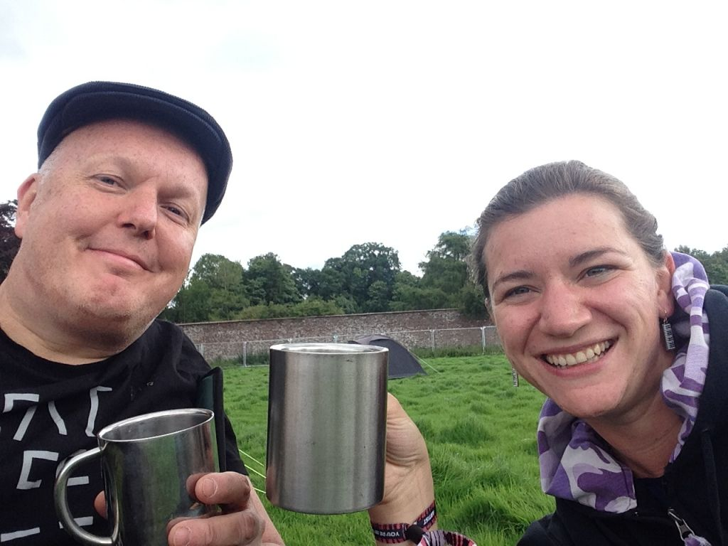 Roland and Claire enjoying a campsite coffee Kendal Calling 2017