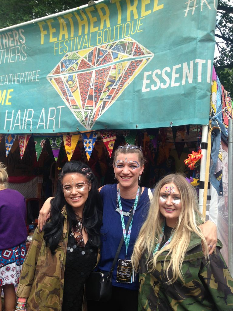 Claire with Briony and Chloe of The Feather Tree at Kendal Calling 2017