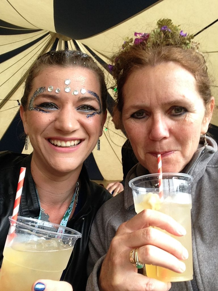 Claire & Julia cocktail time by the lake at Kendal Calling 2017