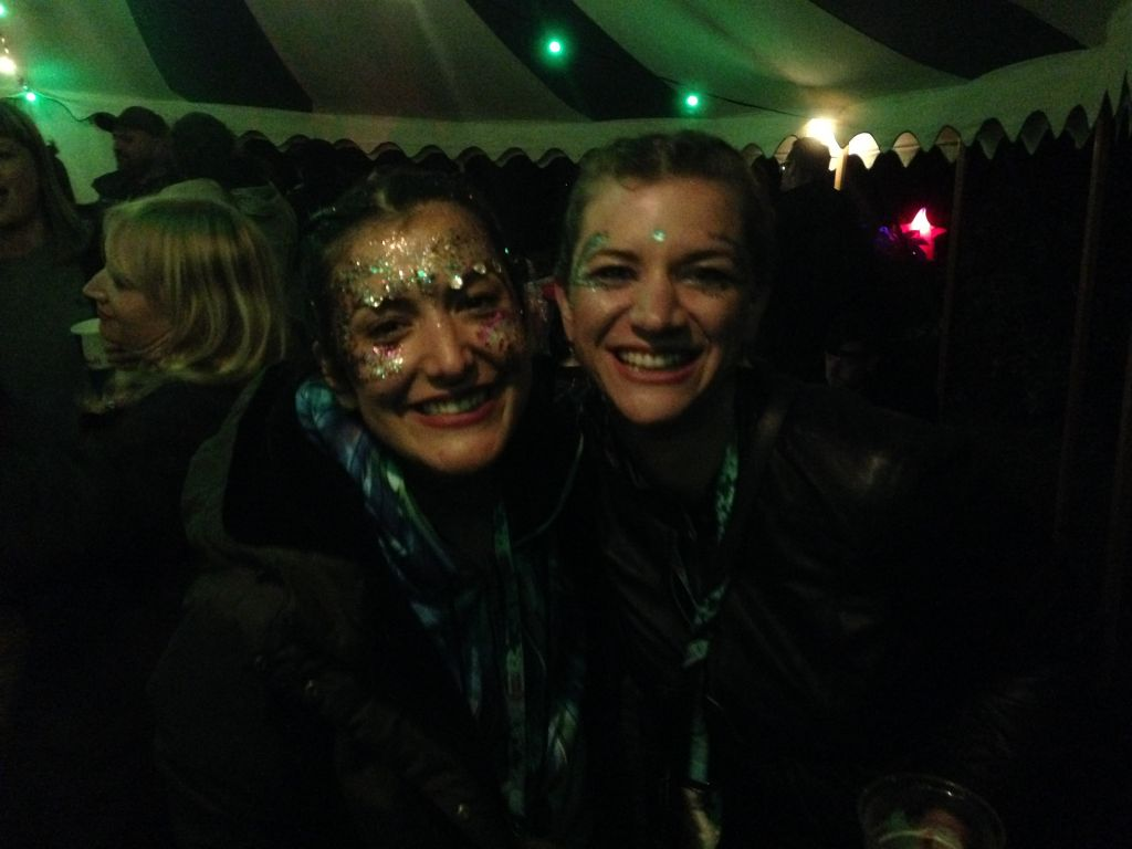Roxy and Claire letting their hair down after the show!